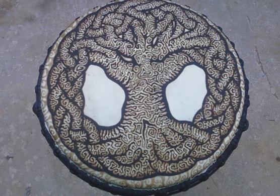 henna tree drum design