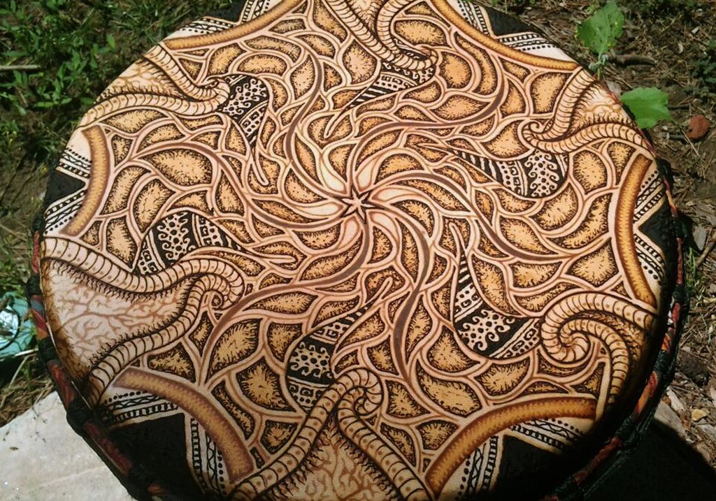 henna painted drum