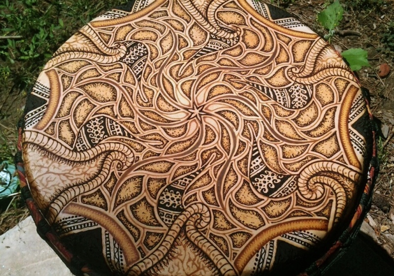 henna painted drum another dimension