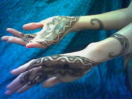 lotus snakes henna hand design