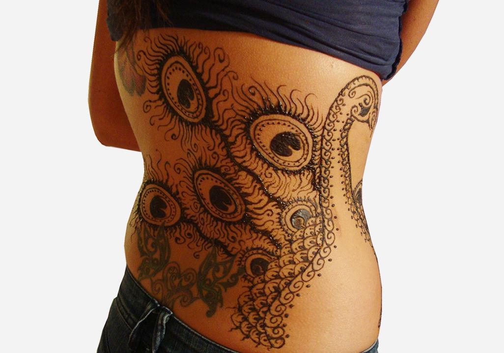 peacock henna design