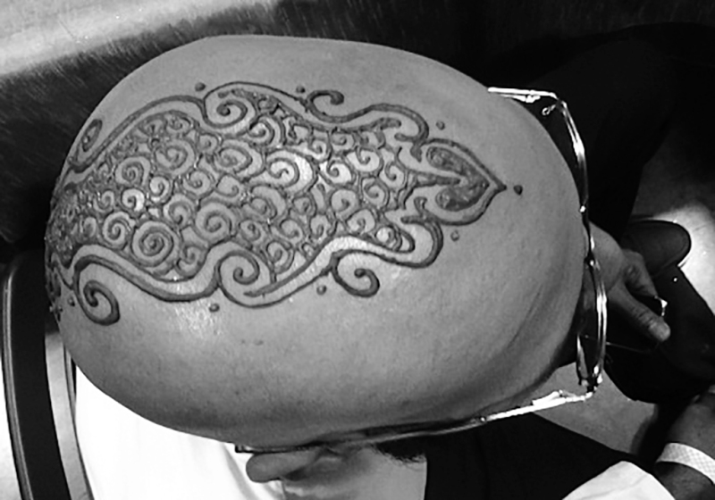 henna head design for man